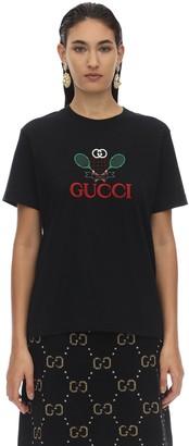 Gucci RACKET LOGO COTTON JERSEY T-SHIRT
