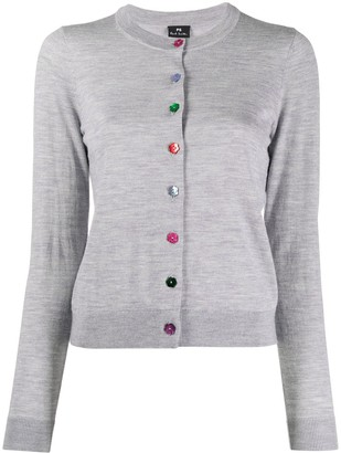 Paul Smith Fine Knit Cardigan With Multicolour Buttons