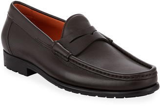 Santoni Ascott Leather Penny Loafers