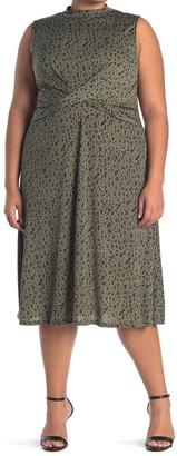 WEST KEI Knit Mock Neck Twisty Midi Dress