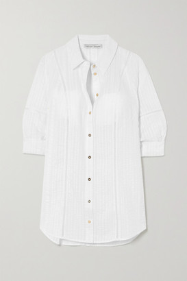Heidi Klein Crocheted Lace-trimmed Cotton-seersucker Shirt - White