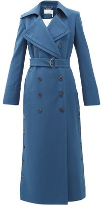 Chloé Belted Stretch-twill Trench Coat - Womens - Blue