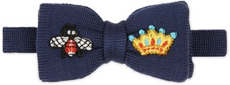 Gucci Children's embroidered wool knit bow tie