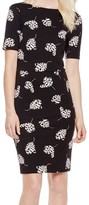 Vince Camuto Black Women's Size Small S Printed Tulip Sheath Dress