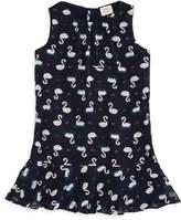 Armani Junior Girls' Swan Print Drop-Waist Dress