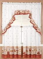 Gorgeous Home LINEN GorgeousHomeLinenDifferent Designs 3pc Kitchen Window Ruffle Rod Tier Curtains Swag Valance Set