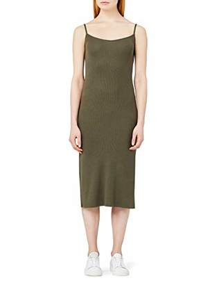 MERAKI Women's Slim Fit Rib Summer Midi Dress,(Size: XX-Large)