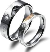 Daesar Wedding Bands for Her and Him Rings Heart Couple Rings Engraving Women 8 & Men 10