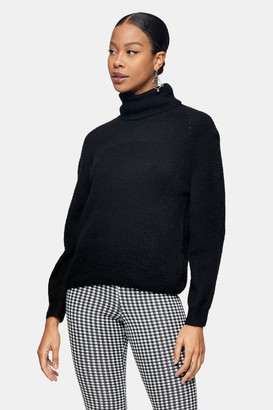 Topshop Womens Black Roll Neck Knitted Jumper - Black