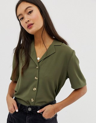 Only button through short sleeve top in khaki-White
