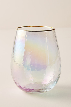 Anthropologie Lustered Stemless Wine Glasses, Set of 4 By in White Size S/4 wine glass