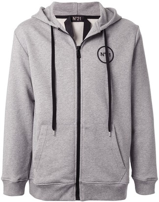 No.21 Chest Logo Zipped Hoodie