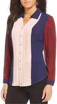 Investments Long Sleeve Button Front Color Block Blouse