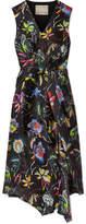 Jason Wu Knotted Floral-print Crinkled Silk-satin Dress - Black