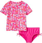 Osh Kosh Girls 4-6x Heart Print Short Sleeve Rashguard & Bottoms Swimsuit Set