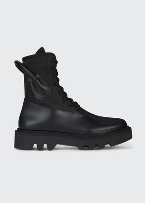 Givenchy Lace-Up Rubber Combat Rain Booties