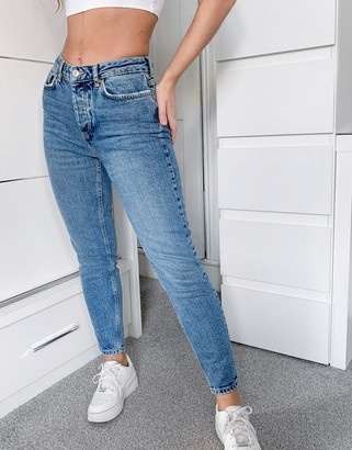 Pieces cara slim mid waist skinny jeans in light blue