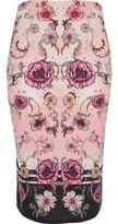 River Island Womens Pink floral print pencil skirt