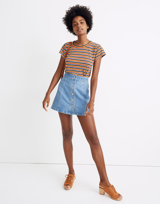 Madewell Stretch Denim A-Line Mini Skirt in Miller Wash