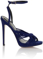 Little Mistress Footwear Cobalt Micro-Fibre Twisted Ankle Strap Heels
