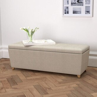 The White Company Langley Linen Union Ottoman Dark Stained Leg, Natural Linen Union, One Size