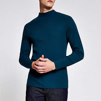 River Island Teal high neck slim fit ribbed top