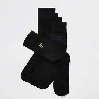 River Island Black RI embroidered socks 5 pack