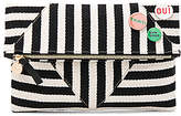 Clare Vivier Patchwork V Foldover Clutch With Pins in Black & White.
