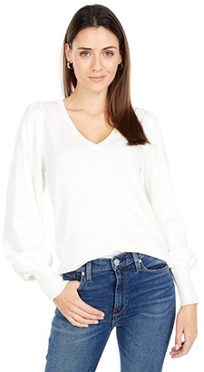 Lilla P Cotton Cashmere Puff Sleeve V-Neck Sweater (Starch) Women's Clothing