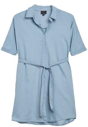 Lumiere Button Front Linen Blend Shirt Dress