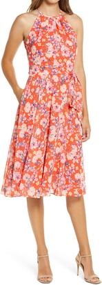 Eliza J Floral Print Halter Neck Dress