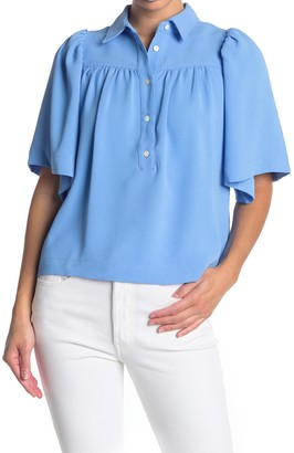 FRNCH Pleated Elbow Sleeve Blouse