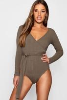 boohoo Petite Knitted Wrap Bodysuit