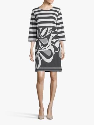 Betty Barclay Striped Monochrome Floral Dress, Black/Cream