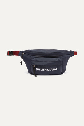 Balenciaga Embroidered Canvas Belt Bag - Navy
