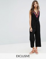 Rocca Bella Embroidered Front Neck Cullotte Beach Jumpsuit