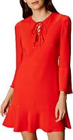 Karen Millen Knot and Drape Mini Ruffle Dress, Cherry