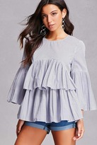 Forever 21 FOREVER 21+ Tiered Ruffle Pinstripe Top