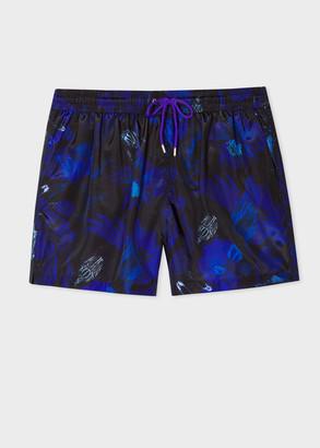 Paul Smith Men's Indigo 'Beetle Botanical' Print Swim Shorts