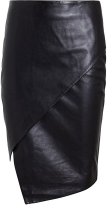 Mason by Michelle Mason Lambskin Leather Asymmetrical Skirt