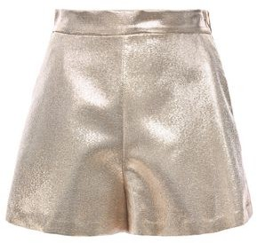 Maje Metallic Silk-blend Shorts