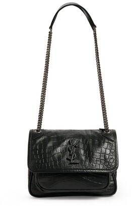 Saint Laurent Small Niki Croc-Embossed Shoulder Bag