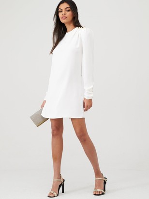 River Island Shoulder Button Detail Swing Dress- White