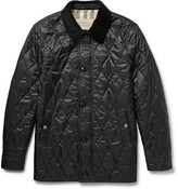 Burberry Leather and Corduroy-Trimmed Quilted Shell Jacket