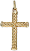 Esquire Men's Jewelry Patterned Cross Pendant in 10k Gold, Only at Macy's