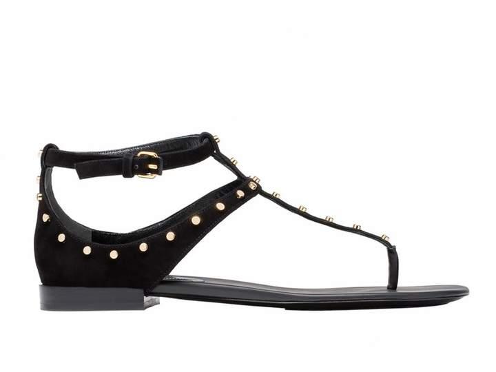 Balenciaga Women's Chamois Leather Flat Sandals Shoes - Size: 7 US
