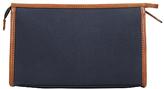 John Lewis Canvas Leather Wash Bag, Navy