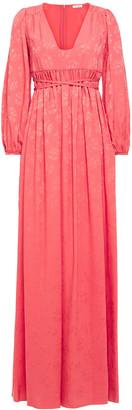 Vilshenko Gathered Jacquard Maxi Dress