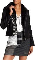 Desigual Faux Fur Collar Moto Jacket