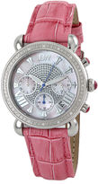 JBW Victory Womens 1/6 CT. T.W. Diamond Pink Leather Strap Watch JB-6210L-E